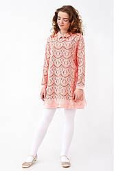 Кружевное подростковое платье бордо, розовый 146,152,158