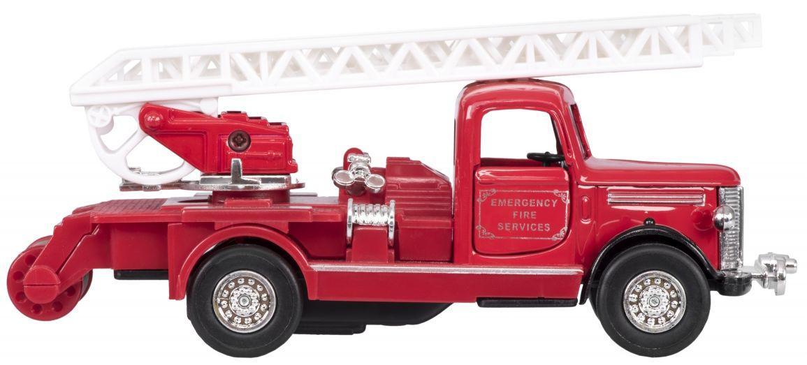 Небольшая металлическая машинка Пожарная ретро-машина с лестницей 12057G-1