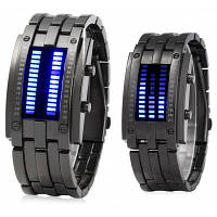 Дата бинарные цифровой светодиодный Браслет часы для любителей с двумя линиями светодиодный дисплей Чёрный