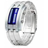 Дата бинарные цифровой светодиодный Браслет часы для мужчин с двумя линиями светодиодный дисплей Серебристый