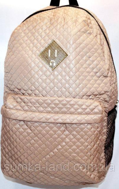 Стеганный бежевый рюкзак с сеткой по бокам 26*42 см