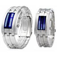 Дата бинарные цифровой светодиодный Браслет часы для любителей с двумя линиями светодиодный дисплей Серебристый