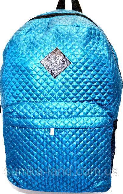 Стеганный бирюзовый рюкзак из плащевки 26*42 см