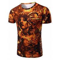 Vogue вокруг шеи 3D красоты печати Короткие рукава футболки для мужчин L