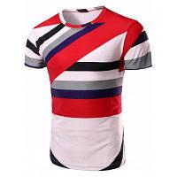 Vogue вокруг шеи блока цвета нашивки с коротким рукавом футболки для мужчин XL