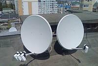 Установка спутникового телевидения, две антенны на 1 телевизор, Эконом