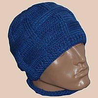 Мужская вязаная шапка сине - василькового цвета