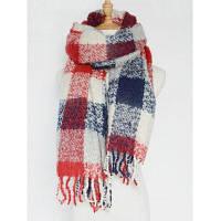 Зимний теплый шарф из пашмины в крупную клетку с бахромой Светло красный
