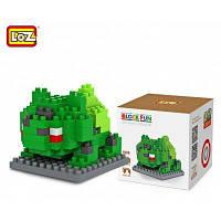 Лоз 120шт М-9139 Покемон Бульбазавр строительный блок образовательные игрушки для возможности сотрудничества Зелёный