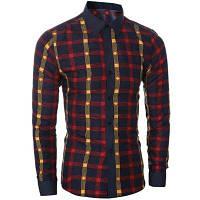 Классический цвет блока воротник рубашки с длинными рукавами для похудения клетчатую рубашку для мужчин XL