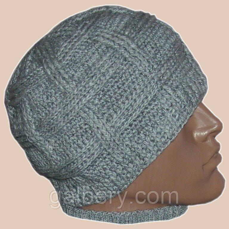 Мужская вязаная шапка на подкладке серебристо-серого вета