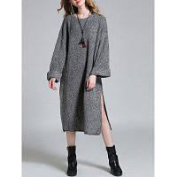 Свободное длинное вязаное платье с боковыми разрезами один размер