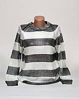 Блестящая женская кофта в полоску с серебристым напылением p.44-48 SB3-1