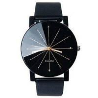Наручные часы с геометрическими лучами на циферблате и искусственным кожным ремешком Чёрный