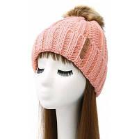 Вязаная женская шапка с меховым помпоном Розовый