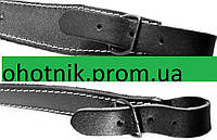 Кожаный ружейный ремень - узкий с тиснением Сокол. Цвет Черный.