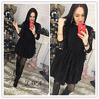 Гипюровое платье с расклешенной юбкой и рукавом 3/4 в расцветках 13903