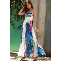 Бандо Цветочный Принт Макси Пляж Праздник Платье L