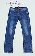 Синие утепленные  джинсы на флисе на девочку 152см