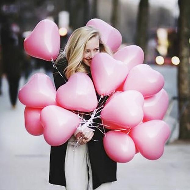 воздушные шарики сердце розовые
