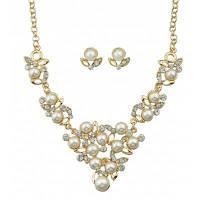 Костюм винтажный со стразами искусственный жемчуг ожерелье и серьги Золотой