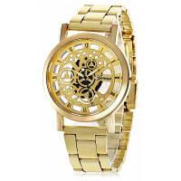 Geneva Модные мужские кварцевые часы ажурный циферблат стальной браслет для часов Золотой