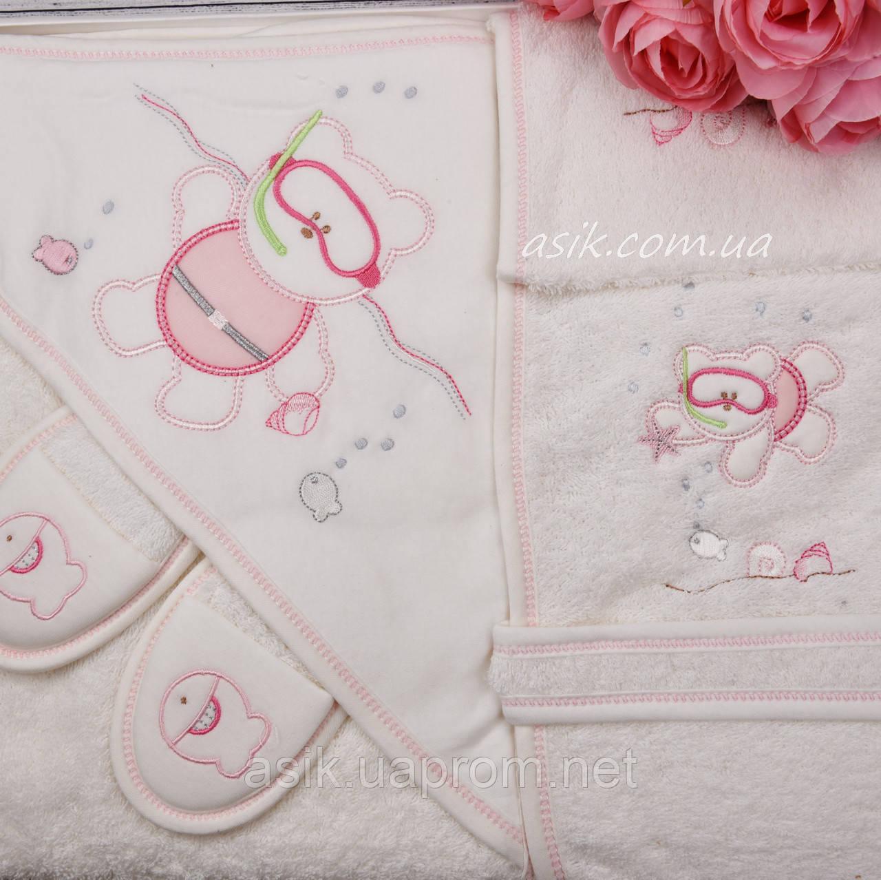 """Махровый набор для ребенка """"Водолаз"""" розового цвета"""