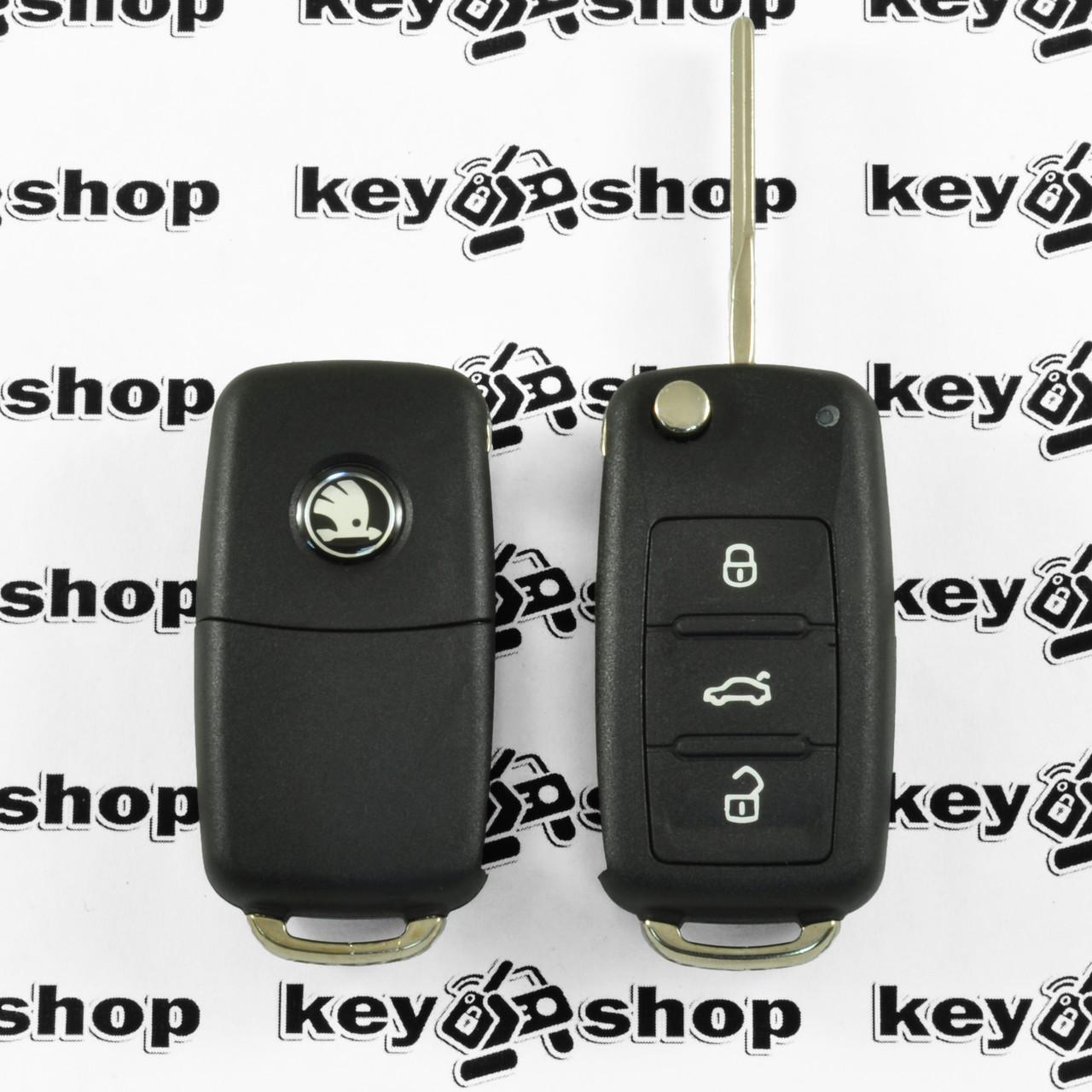 Корпус выкидного автоключа  для SKODA (шкода)  3 - кнопки, лезвие HU66, после 2008 года