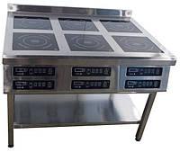Индукционная плита Tehma 6х3,5 кВт шестиконфорочная напольная для кафе и столовой