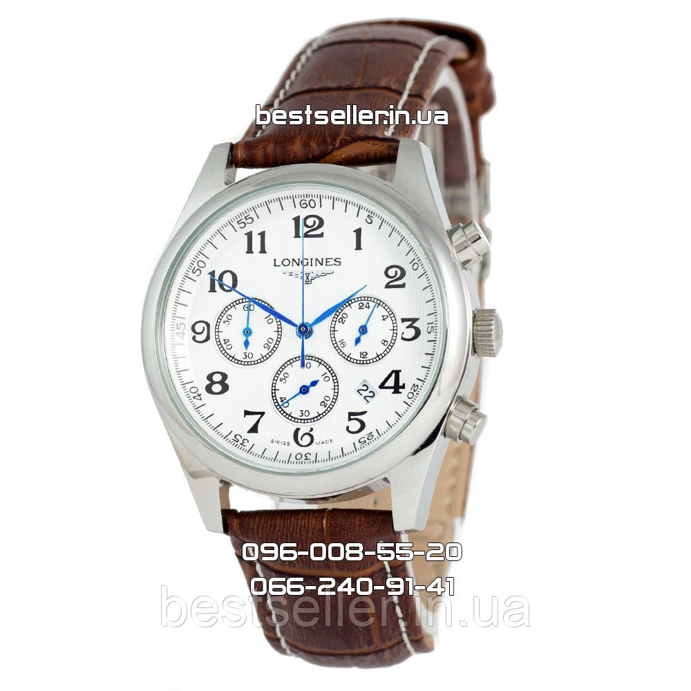 Часы Longines Master Collection Chronograph Silver White. Класс  ААА ... 7c0e143b699bf