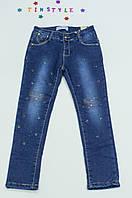 Модные утепленные  джинсы на флисе на девочку 140 см
