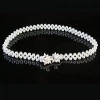 Chic Rhinestone формы цветка Засов перлы Faux Талия цепи для женщин Белый