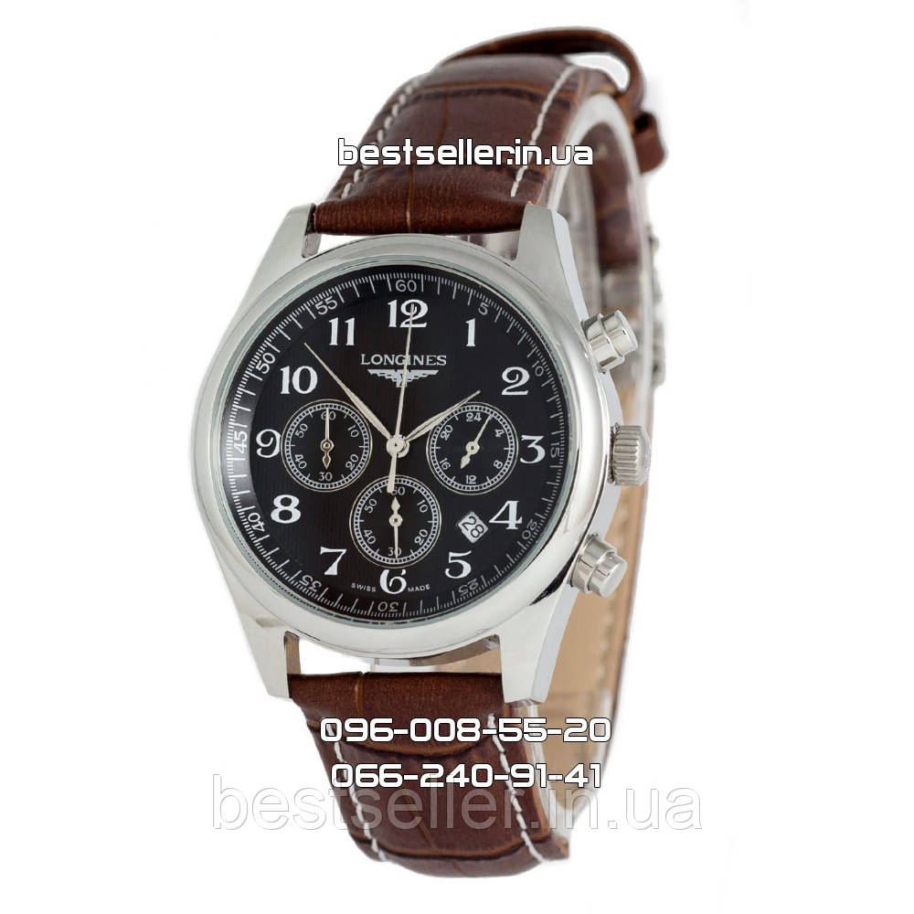Часы Longines Master Collection Chronograph Silver Black. Класс  ААА ... 869597f559e4d