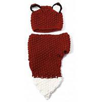 """Вязаный комплект """"Лисичка"""" из шапки с ушками и шарфа Коричнево-красный"""