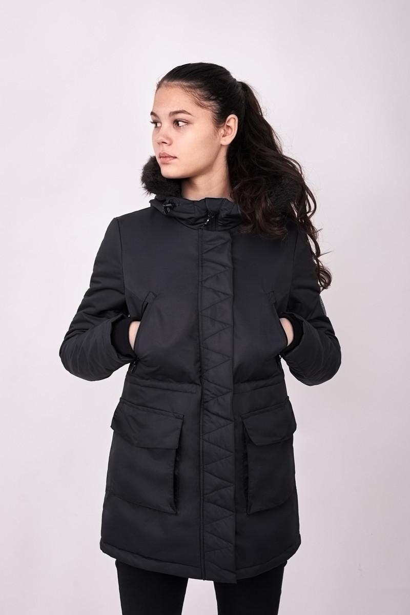 Куртка парка женская зимняя W6 BLK Urban Planet черная (женская куртка