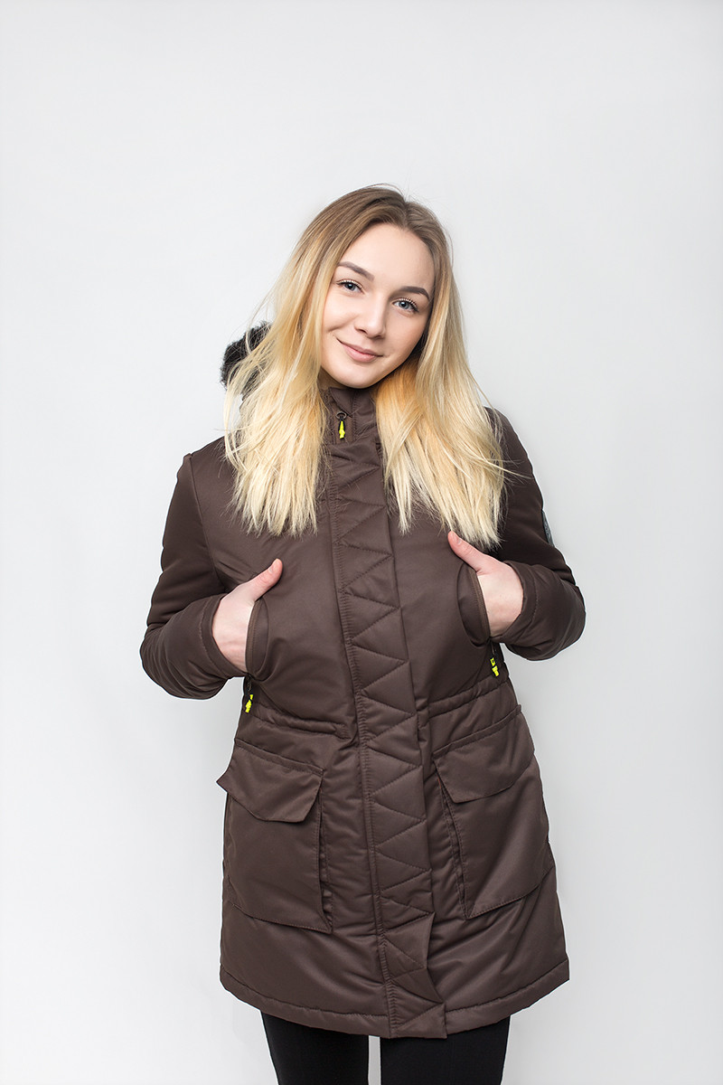 Куртка парка женская зимняя W6 DRUM Urban Planet коричн. (женская курт