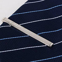 Стильный мужской прямоугольный зажим для галстука Серебристый