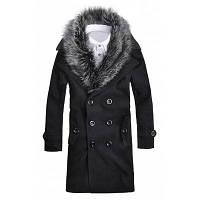 Шерстяное пальто с манжетами и меховым воротником 3XL