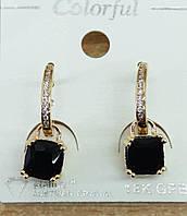 209 Элитная позолоченная бижутерия, черные серьги позолота с кристаллами