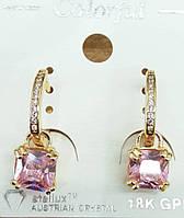 210 Элитная позолоченная бижутерия, розовые серьги позолота с кристаллами