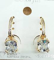 211 Элитная позолоченная бижутерия, белые серьги позолота с кристаллами