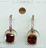 212 Элитная бижутерия, янтарные серьги позолота с кристаллами