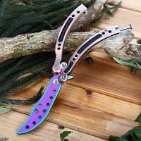 Складной тренировочный нож бабочка с тупым лезвием и чехлом разноцветный