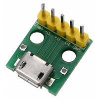 Переходник с микро-USB на 2.54мм разъем DIP 5P Зелёный