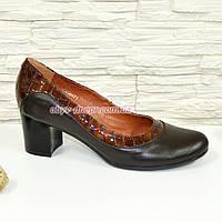 """Туфли женские коричневые на невысоком устойчивом каблуке, натуральные кожа и кожа """"крокодил""""."""