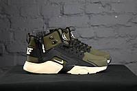 Кроссовки Nike Air Huarache - ACRONYM, Original, цвет - хаки, материал - кожа, подошва - пенка