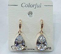 221 Позолоченные, белые серьги капли кристаллы оптом.