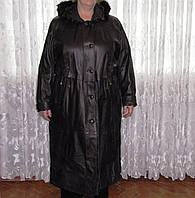 Новое женское зимнее пальто, р. 56 с капюшоном, кожа, батал