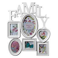 """Мультирамка, 6 фотографий, """"Family"""" белая, Белый, Пластик, Коллаж из 6-х фото"""