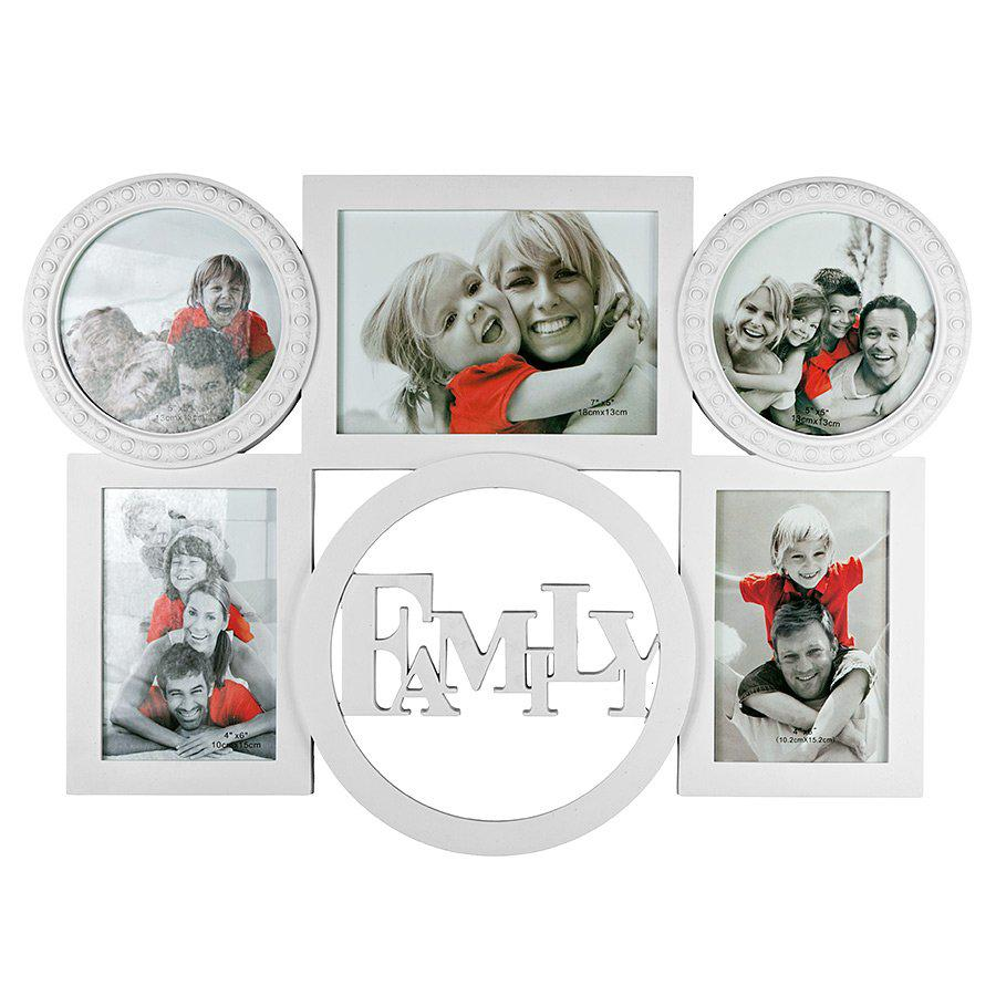Фоторамка или рамка для фото, купить мультирамку коллаж из фотографий на стену Youngpig «Family» 47.5х32.5х2 см белая (725)